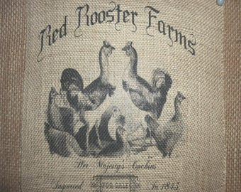 Red Rooster Farmers Burlap Picture