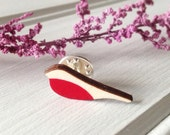Wooden Robin Pin Brooch - Lapel Tie Pin - Gift for Her - Gift for Him - Memorial Jewellery
