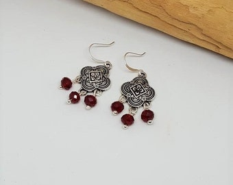 Burgundy Chandelier Earrings - Burgundy Earrings - Chandelier Earrings