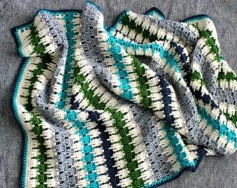 baby blanket | crochet stripes | pure wool | modern