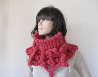 Scarf , unique handmade knitted scarf, wonam scarf, circular, chunky texture, fluffy.