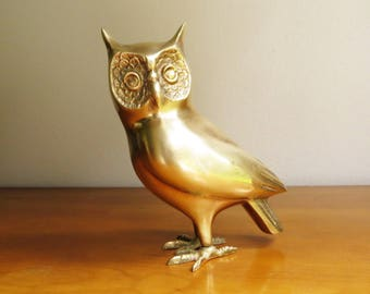 Vintage Brass Owl Figurine, Gold Owl Statue, Large Owl Figure, Horned Owl, Brass Figurine