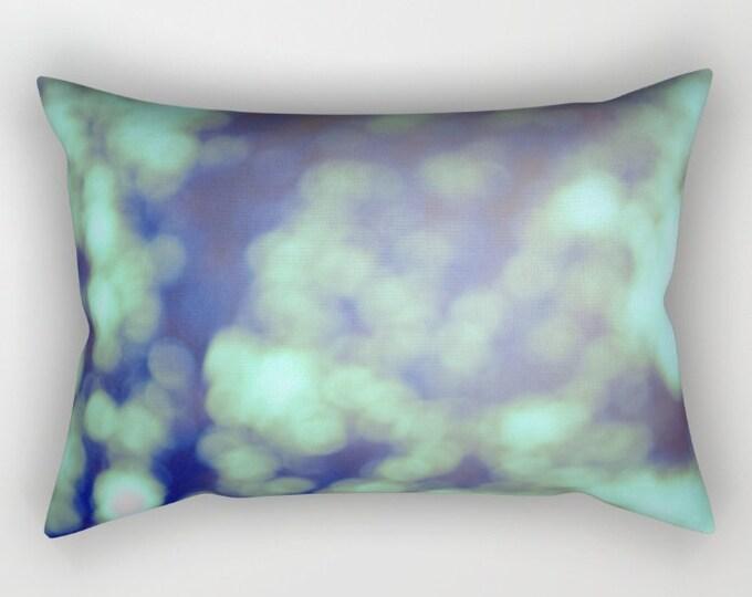 Green Pillow Includes Insert - Bokeh Photograph - Rectangular Bed Pillow - Decorative Pillow - Made to Order