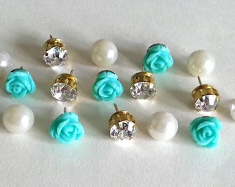 Decorative Push Pins - Pearl Thumbtacks - Flower Push Pins - Turquoise - Rhinestone Thumbtacks - Pretty Push Pins - Creative - Cork Board