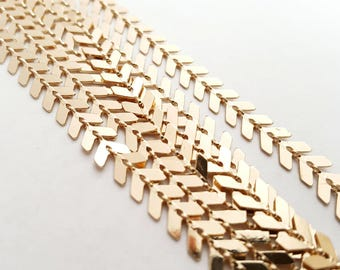 Gold Plated Arrow Chain, Brass Based Fishbone Chain - 1 foot
