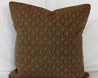 SALE Floral Leaf Lattice Brown Green Pillow Cover for 18x18 Pillow Form Throw Pillow Toss Pillow Accent Pillow