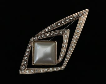 Vintage Infinity Abstract Triangular Brooch With Rhinestones and Faux Stone (JT1)