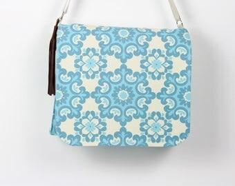 Messenger bag, Cross body bag, Blue floral print bag, Canvas cross body bag, Canvas messenger bag, Summer bag, Summer canvas bag