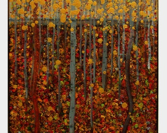 "Original Art, Acrylic Painting, Landscape, Wall Art, Three Painting ""Golden Autum"" 20x16x0,75  by M.Schöneberg"