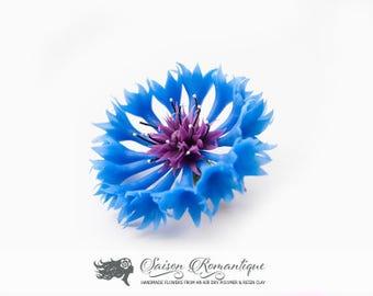 Brooch Cornflower - Polymer Clay Flowers