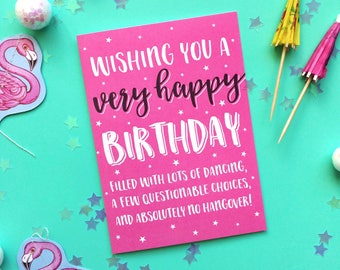 Wishing You a Very Happy Birthday - Funny Birthday Card - Birthday Card - Birthday Card for Friend - Drunk Birthday Card - Hangover Card