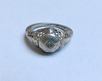 old edwardian filigree sterling and diamond ring, size 5.5
