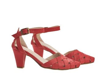 Rose, Scarlet red Heeled Sandals, leather sandals