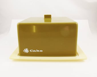 Totally Awesome Square Plastic Cake Carrier in - Goldenrod Color - Handle and 'Cake' Imprinted on It - Cover Anything - Fun Color and Size