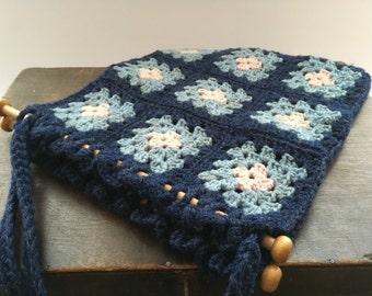 Vintage blue Crocheted Handbag Handmade vintage Bag Lined Crochet bag Blue bag
