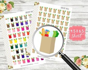 Grocery Stickers - Grocery Bag Stickers - Grocery Shopping Stickers - Planner Stickers - Erin Condren - Filofax - Happy Planner