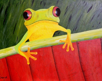 Yellow Tree Frog Original Acrylic Painting - 18 x 24, Animal Art, Forest Decor, Frog Nursery, Wooland Art, Tropical Art, Jungle Animals