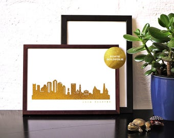 "Unique BOSTON ""Love Forever"" Honeymoon Poster, gold foil Boston skyline, cool hygge artwork, golden Boston print, wedding card, anniversary"
