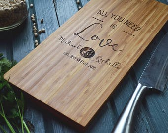 "Personalized Cheese Board Engraved Bamboo Wood, ""Love is all you need"" Wedding, Anniversary Gift"