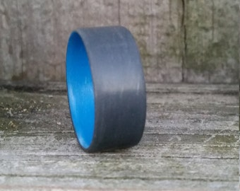 Battleship Grey Unidirectional Ring with Blue Inside