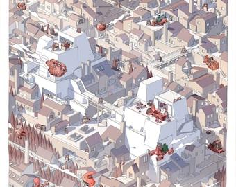 Spaceship Town. Print 70x70 cm.