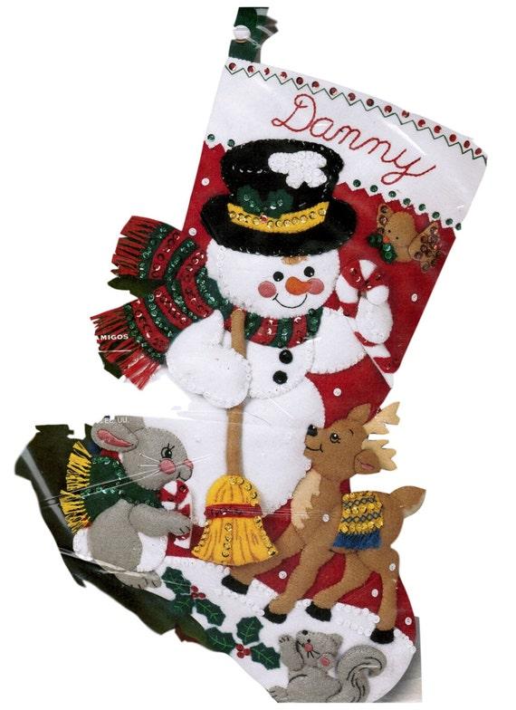 Bucilla Christmas Felt Christmas Stocking Kit Snowman and Friends 18 Inch New Christmas Kit Felt Applique Stocking DIY Personalized  Kit