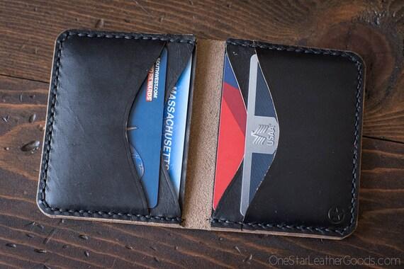 6 Pocket Horizontal Wallet, Horween Chromexcel leather, for front or back pocket - black