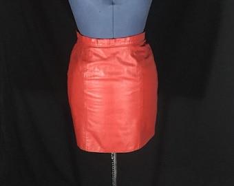 Vintage 1980's I.O.U. Red Leather Mini Skirt