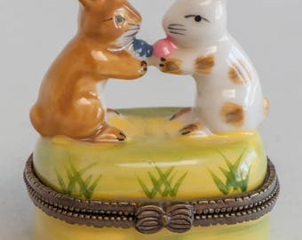 Vintage Easter Pill Box Two Rabbits And Carrot Vintage Easter Decor Rustic Easter Decor Easter Bunny Spring Decor