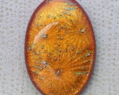 Lg 28x41mm Oval Dichroic Glass Cabochons - Starry Goldenrod over Red Color - TR968  // Handmade