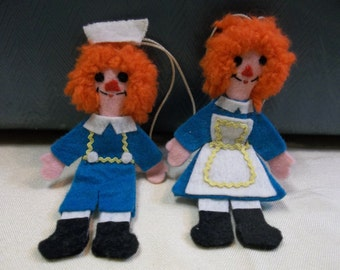 Vintage Felt Raggedy Ann and Andy Ornaments, T