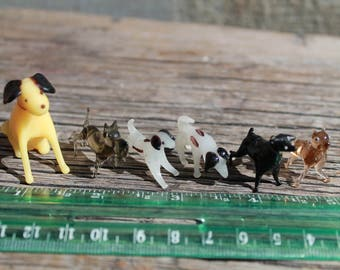 Vintage Miniature Dogs, Glass Dog Figurine Set, Lampwork Puppy Deco, Tiny Dog, Tiny Puppy, Fairy Garden, Terrarium Decoration, Spun Glass