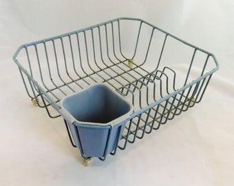 Vintage Light Blue Dish Drainer Plastic Coated Wire Dish Rack