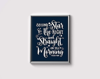 Art Print - Buy One Get One Free - Second star to the right - Peter Pan quote typography - Navy Blue - Nursery Art Print - SKU:2127