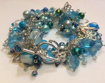 Chunky Indian Glass Charm Bracelet - Turquoise - FREE P&P - FREE Gift Box
