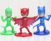 PJ Masks CAKE TOPPER Catboy Owlette Gekko Superhero 3 Figure Set Birthday Party Cupcakes Figurines * Fast Shipping * Connor Amaya Greg
