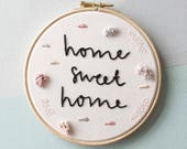 "Custom 6"" embroidery hoop. Modern embroidery. Wall art. New home gift. Textile art. Home decor. Wedding gift."