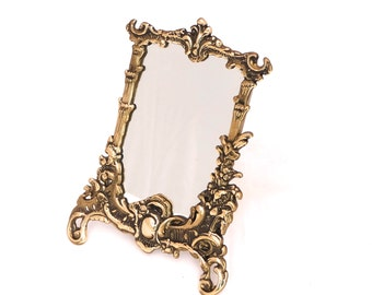 Antique bronze standing vanity mirror victorian vanity for Gold stand up mirror