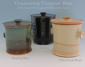 countertop compost bin recycle garbage kitchen scraps coffee grinds 12 cups functional kitchen pottery