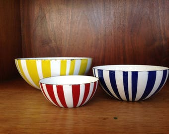 Trio of CathrineHolm Zebra Striped Enamelware Bowls - Yellow Blue Red