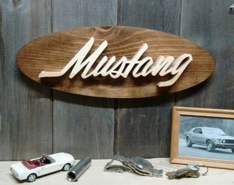 Ford Mustang Script Emblem Oval Wall Plaque-Unique scroll saw automotive art created from wood.