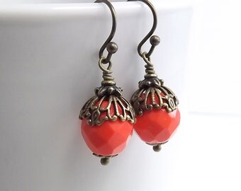 Antique Brass Earrings with Czech Firepolish Red Orange Faceted Beads