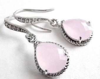 SPRING SALE Silver Earrings - Cloudy Pink Glass Teardrops