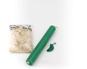 Prosperity and Good Fortune Witch kit Intention Kit Malachite Moon Pendant