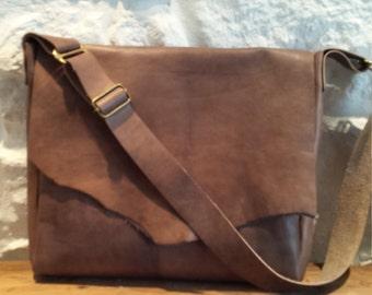 Distressed look brown leather bag