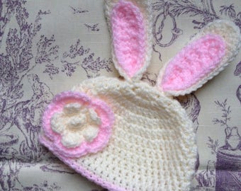 Bunny Rabbit Hat, Newborn Baby to Toddler, Handmade Crochet