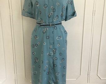 1940s blue linen novelty print dress L