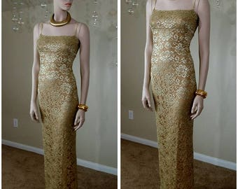 Vintage gold lace Formal Evening Dress Gown size L by just in time USA