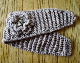 CROCHET Winter HEADBAND Ear warmer Hat with CHANGEABLE Center Accent Handmade