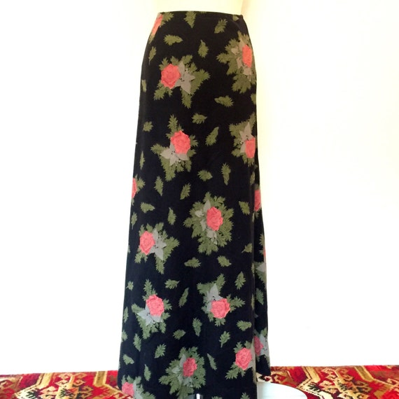 "vintage novelty print rose suedette fabric skirt long maxi suede look 1970s black A line flared high waisted 26"" waist Berketex boutique"